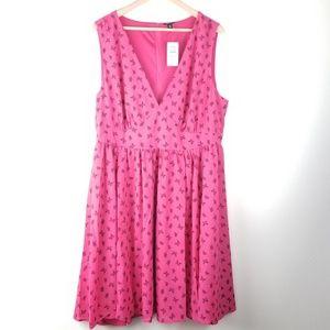 Torrid butterfly polka dot mini dress Sz 20 pink